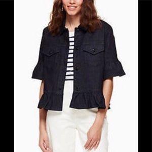 NEW Kate Spade Flounce Sleeve Denim Jacket Small